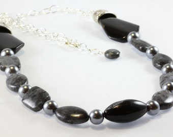 Larvikite and Onyx Necklace, Long Gemstone Necklace