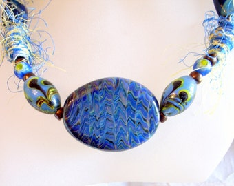 Blue Murano Glass Necklace - One Of A Kind - Unique Hairy Silk Beads - Handmade Blue Swirl Glass - 24 Inches or 61cm