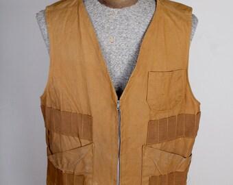 Tan Canvas Corcoran Brand Vintage Hunting Birding Fishing Vest with Pockets Zipper Closure