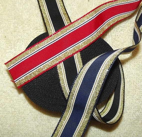 "Puppy Bows ~ ribbon craft supplies  7/8"" red/gold, black/gold, navy/gold 16 yards"