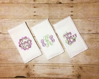 Burp cloth set, Purple Ivy Theme