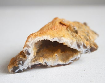 Agate Geode Half, Cut And Polished, Gorgeous Yellow and Gray, Druzy Points, A Beautiful Little Rock