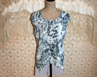 Sleeveless Tops Hippie Boho Bohemian Summer Top Large Blouse High Low Oversized Shirt Rayon Blue Lavender Boho Clothing Womens Clothing