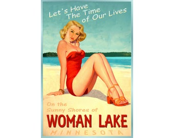 Woman Lake Minnesota New Original Pinup Travel Poster Time of Our Lives Longville Cass County Bathing Beauty Art Print 240