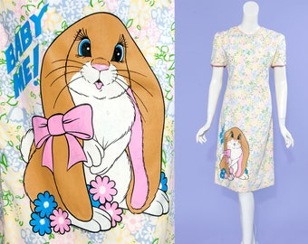 60s Hand-Screen Printed | The Vested Gentress floral dress | BABY ME bunny appliqué | size medium