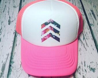 Floral hat, chevron hat, chevron trucker hat, trucker hat, womens hat, womens trucker hat, kids trucker hat, gift for her