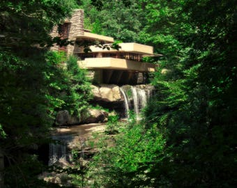 Water is Falling - Photography - Art Print - Falling Water - Frank Lloyd Wright House - Nature Mixed with Man Made