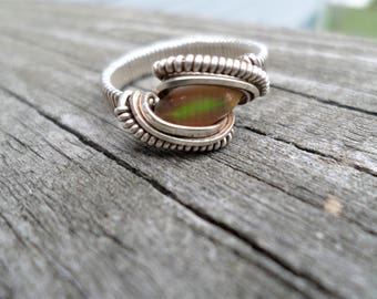 Sterling Silver Opal Ring size 7 Wire Wrapped