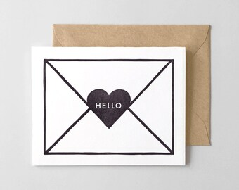 Hello Envelope Letterpress Greeting Card