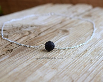 Lava Necklace, Diffuser Necklace, Aromatherapy, Essential Oil Necklace, Lava Jewelry, Black Lava, STERLING SILVER, Custom Length, Choker