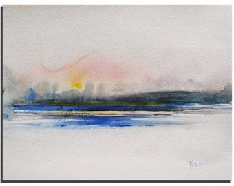 Original Watercolor painting, Pink Blue Painting, Landscape Painting, Original Art, Modern Art Gift Ideas Birthday Gift