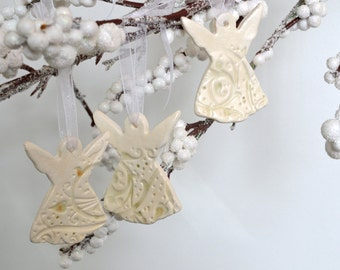 Ceramic Angel Ornament ~ Angel Gifts For A Friend ~Angel Ornaments Ceramic~ Pottery Angel Ceramic~ Pottery Angel Ornament ~ Bulk Angels 6527