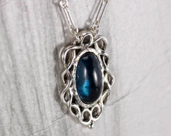Blue green Tourmaline cletic inspired pendant with chain