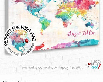 Push pin map custom map art personalised gifts par happyplaceart personalized gift for daughter watercolor world map colorful pushpin map personalised gift for gumiabroncs Choice Image