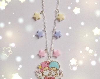 Kawaii Little Twin Stars Starry Sky Necklace, Fairy Kei, Pastel Kei, Sweet Lolita, Harajuku etc inspired