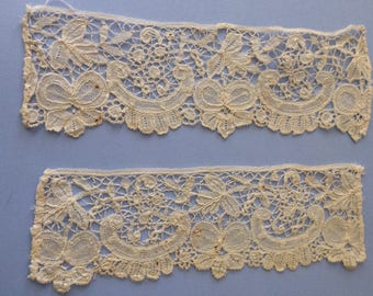 2 x small antique Brussels lace lengths - probably cuffs