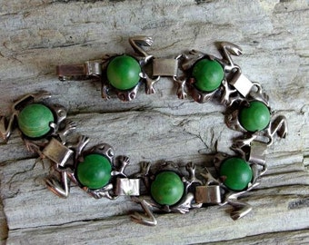 1930s Mexico Silver Bracelet with Turquoise Cabochons Prong Set on Silver Frogs, Signed and Wonderfully Fun