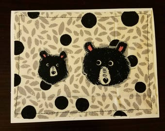 Bear Buddies, multimedia fabric and paper blank on the inside notecard, handmade, homemade, hand cut, moda, amy butler, cotton and steel