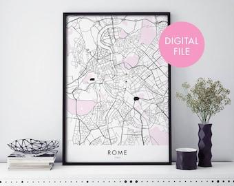 Rome, Italy City Map Print Wall Art   Print At Home   Digital Download File