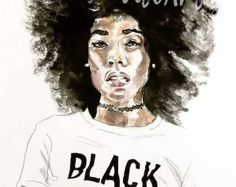African American Woman Art Print Black Beauty Afro Natural Hair Ink Portrait Limited Edition Poster Print Wall Decor