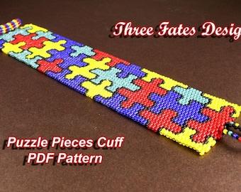 Pattern, Beaded Bracelet, Puzzle, Seed Bead Pattern, Peyote, Cuff Bracelet, Jigsaw, PDF Pattern, Instant Download