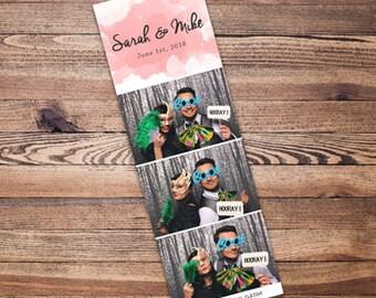Pink Watercolor Splash 2x6 Wedding Photo Booth Strip Template