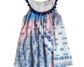 Pink and Blue Pom Pom Neckline Sundress