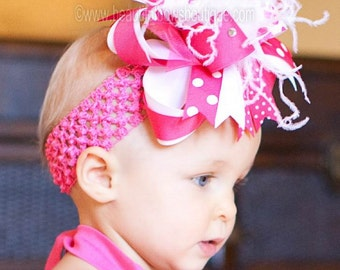 Polka Dot Shocking PInk and White Over the Top Hair Bow or Baby Headband for Girls