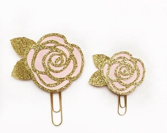 Gold and Pink Rose Paper Clip / Planner Clip