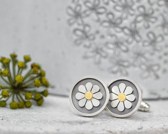 Framed Daisy Cufflinks in solid silver and 18ct gold, Silver daisy cufflinks, Floral cufflinks, Groom cufflinks