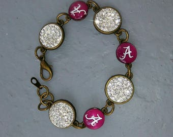 University of Alabama rhinestone bracelet UA Game Day Crimson Tide Jewelry Alabama gifts Roll Tide gift