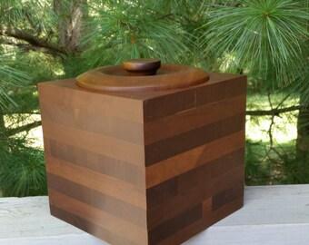 Solid Black Walnut Ice Bucket Vintage Barware