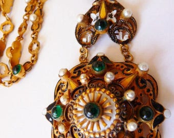 Hobe Austro~Hungarian necklace   Czech style Hobe vintage   Austro~Hungarian revival necklace   matte gold tone Russian gold   1867-1918