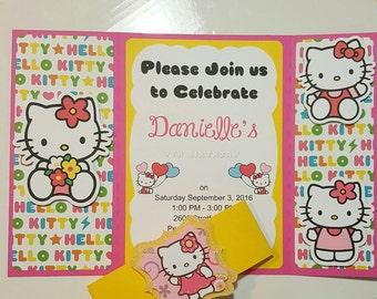 Hello Kitty Invitation, Hello Kitty Party Invitation, Hello Kitty Birthday Invitation, Girl Invitation, Handmade, set of 10 invites.