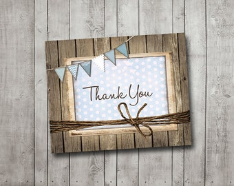 Boy Baby Shower Thank You Card Rustic Wood Blue Bunting Banner Vintage Shabby Printable Instant Download Digital File