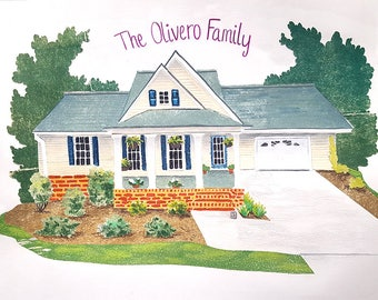 House Illustration, Home Illustration, Home Drawing, Family Home Portrait, Moving Gift, Real Estate Closing, Gift