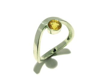 Citrine or Smoky Quartz Silver Ring - Birthstone November - Handmade in Your Size - Faceted Gemstone Ring - Simple Ring
