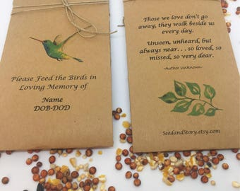 Personalized birdseed memorial packets - hummingbird seed packets - Funeral program alternative - 25 Personalized Life Celebration bird Seed