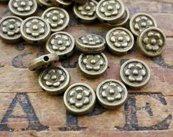 Pewter Bead Metal Bead Flower Bead Coin Bead Antiqued Brass Bead (12)