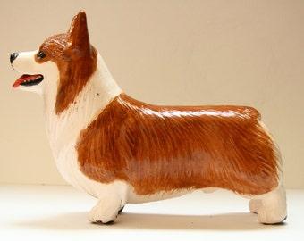 pembroke Welsh Corgi statue, figurine handmade of ceramic, statuette