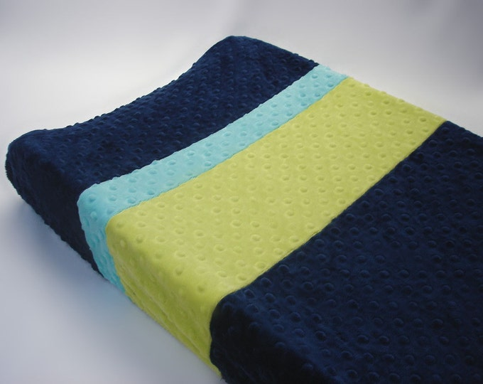 Navy Blue Changing Pad Cover with Stripes