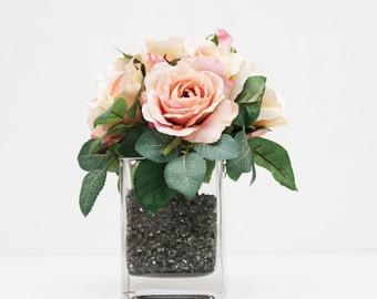 Pretty pink rose wedding table centerpiece reception flowers home decor flower arrangement without vase