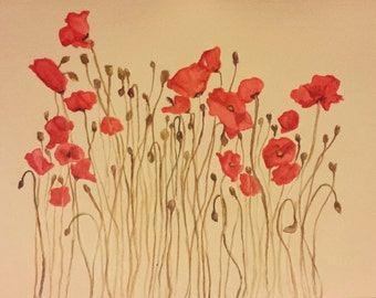 "7.5""x10"" Pressed Poppy Flowers Watercolor Painting - 2014."