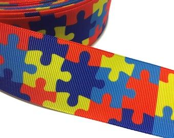 Autism Puzzle Ribbon, Autism Ribbon, Autism Grosgrain Ribbon, Autism Awareness Ribbon, Autism Support Ribbon, Autism Craft Supply