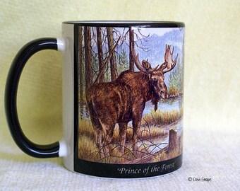 MUGS, Ceramic 11 OZ Moose Mug, Moose decor, Wildlife, Wildlife mugs, Ellen Strope, Coffee mugs