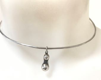 Contemporary modernist style solid silver choker necklace