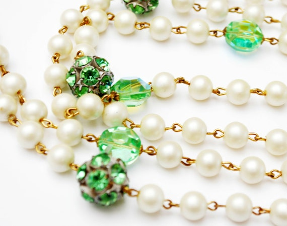 Green Rhinestone bead Pearl  Necklace -  green Aurora borealis crystal  -  green  rondelle - gold beads   56 inches