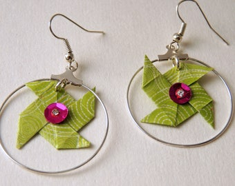 """Boucles d'oreilles Origami """"Windmill"""" circle white green"""