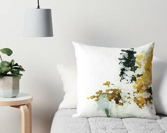 Neutral Pillow, Throw Pillow, White Pillow, Mustard Yellow, Charcoal Gray, Abstract Art Pillow, White Cushion, Sofa Pillow, Couch Pillow