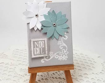 Noel Mixed Media Canvas - Mixed Media Mini Canvas - Christmas Home Decor - Turquoise and White Poinsettia - Noel Mixed Media Canvas